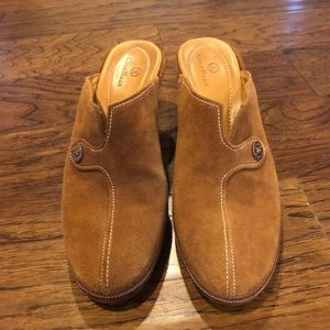 Cole Haan Brown Suede slip on heels.